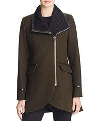 Trina Turk Rib Knit Collar Long Moto Jacket Olive