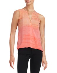 Red Haute Keyhole Surplice Tank Coral