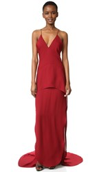 Maiyet Long Peplum Gown Vermillion