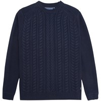 Joules Hearth Cable Knit Jumper Navy
