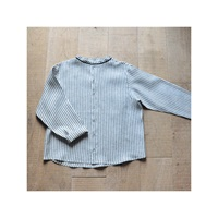 Unisex Shirt Mao Collar Light Stripes Linen Le Vestiaire De Jeanne Sarl