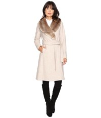 Lauren Ralph Lauren Faux Fur Collar Wrap Platinum Heather Women's Coat Gray