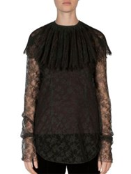 Nina Ricci Coated Lace Removable Collar Blouse Dark Green