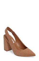 Steve Madden Women's Dove Pointy Toe Pumps Camel Nubuck Leather