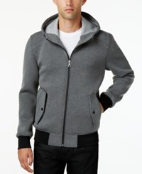 Guess Men's Hooded Knit Bomber Jacket Charcoal