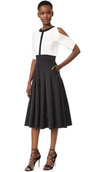 J. Mendel Round Neck Dress With Flared Skirt Noir