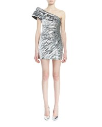 Saint Laurent One Shoulder Pleated Metallic Mini Dress Silver