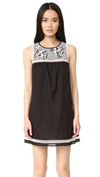 Tory Burch Bay Embroidered Dress Black Ivory