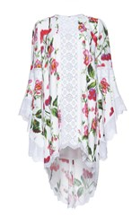Andrew Gn Flutter Sleeve Floral Dress Pink