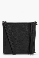 Boohoo Square Structured Tassel Cross Body Bag Black
