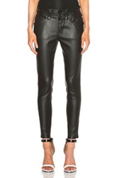 Unravel Slouchy Skinny Lambskin Leather Pants In Black