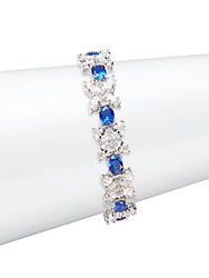 Cz By Kenneth Jay Lane Butterfly Zoo Multi Stone Bracelet Silvertone Blue