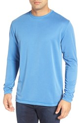 Bugatchi Men's Long Sleeve Crewneck T Shirt Classic Blue