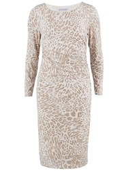 Gina Bacconi Animal Print Jersey Ruched Dress Beige