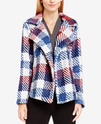 Vince Camuto Open Front Plaid Blazer Malbec Red