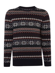 Army And Navy Fairisle Crew Neck Pull Over Jumpers Navy