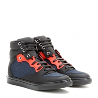 Balenciaga Leather High Top Sneakers Navy Red Black