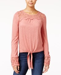 American Rag Crocheted Tie Front Peasant Top Only At Macy's Canyon Rose