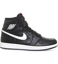 Nike Air Jordan 1 Retro Leather High Top Trainers Black White Og
