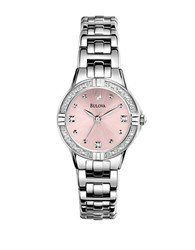 Bulova Ladies' Stainless Steel Diamond Watch With Pink Dial Silver
