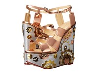 Charlotte Olympia Mechanical Merylin Copper Silver Gold Metallic Calfskin Women's Wedge Shoes Brown