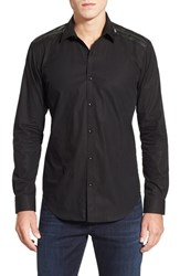 Men's Bogosse 'Allan' Shaped Fit Long Sleeve Sport Shirt With Leather Trim