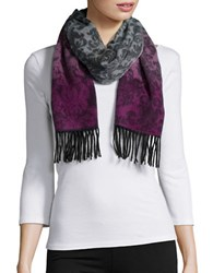 Lord And Taylor Ombre Print Fringe Cashmere Scarf Berry
