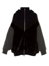 Stella Mccartney Zip Through Faux Fur And Ribbed Knit Wool Sweater Navy