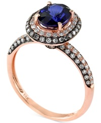 Effy Collection Velvet Bleu By Effy Manufactured Diffused Sapphire 1 3 8 Ct. T.W. And Diamond 1 2 Ct. T.W. Ring In 14K Rose Gold
