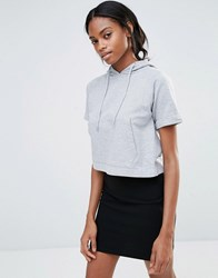 Missguided Pocket Front Short Sleeve Hoodie Grey