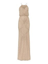 Adrianna Papell Blouson Beaded Gown With Halter Neckline Pink