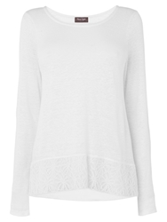 Phase Eight Luna Lace Hem Linen Top White