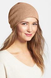 Women's Halogen Slouchy Cashmere Beanie Brown Tan Camel Heather