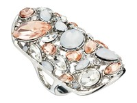 Guess Clustered Stone Knuckle Ring Silver Crystal Peach Ring