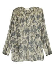 Zimmermann Adorn Bird Chintz Print Silk Chiffon Blouse Grey Multi