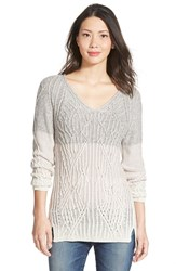 Petite Women's Nic Zoe Ombre V Neck Sweater