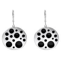 Dana Bronfman Hollow Coin Earring Sterling Silver And Black Rhodium Plated
