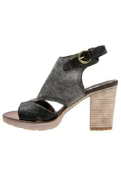 Mjus Playa Platform Sandals Nero Inox Black