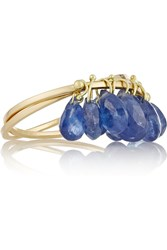 Inez And Vinoodh 18 Karat Gold Sapphire Interlinked Rings Blue