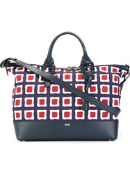 Giorgio Armani Large Printed Tote Bag Blue