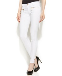 Michael Michael Kors Petite Zippered Skinny Jeans White Wash