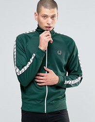 Fred Perry Track Jacket With Taped Sleeves In Ivy Ivy Green