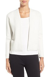 Eileen Fisher Petite Women's Bubble Knit Open Front Silk Blend Jacket Bone