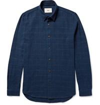 Folk Slim Fit Windowpane Checked Slub Cotton Twill Shirt Storm Blue