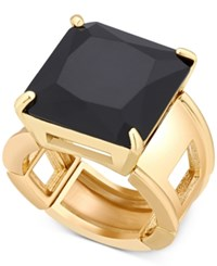 T Tahari Gold Tone Jet Crystal Cocktail Stretch Ring