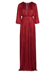 Maria Lucia Hohan Long Sleeved Silk Tulle Pleated Gown Red