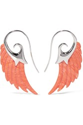 Noor Fares Wing 18 Karat White Gold Coral Earrings White Gold Coral