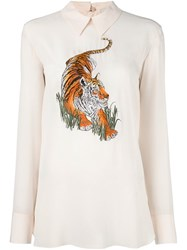 Stella Mccartney Embroidered Tiger Blouse Nude And Neutrals
