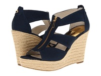 Michael Michael Kors Damita Wedge Navy Canvas Women's Wedge Shoes Blue