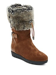 Aquatalia By Marvin K Westley Faux Fur Lined Suede And Leather Boots Black
